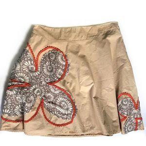 Anthropologie Ryu Skirt Boho Embroidered Floral Lg